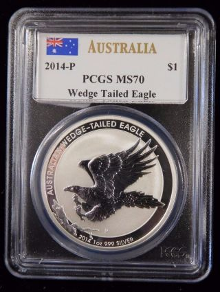 2014 - P Pcgs Ms70 Australia Wedge Tailed Eagle.  999 Silver 1 Oz.  $1 Coin photo