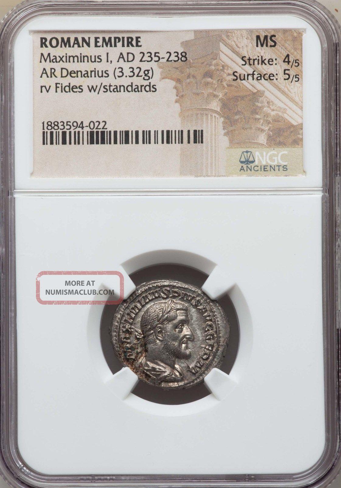 Maximinus Ad 235 - 238 Ar Denarius Ngc Ms 4/5 - 5/5 Ancient Roman Silver Coin Coins: Ancient photo