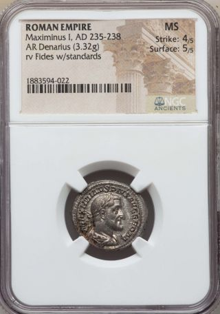 Maximinus Ad 235 - 238 Ar Denarius Ngc Ms 4/5 - 5/5 Ancient Roman Silver Coin photo