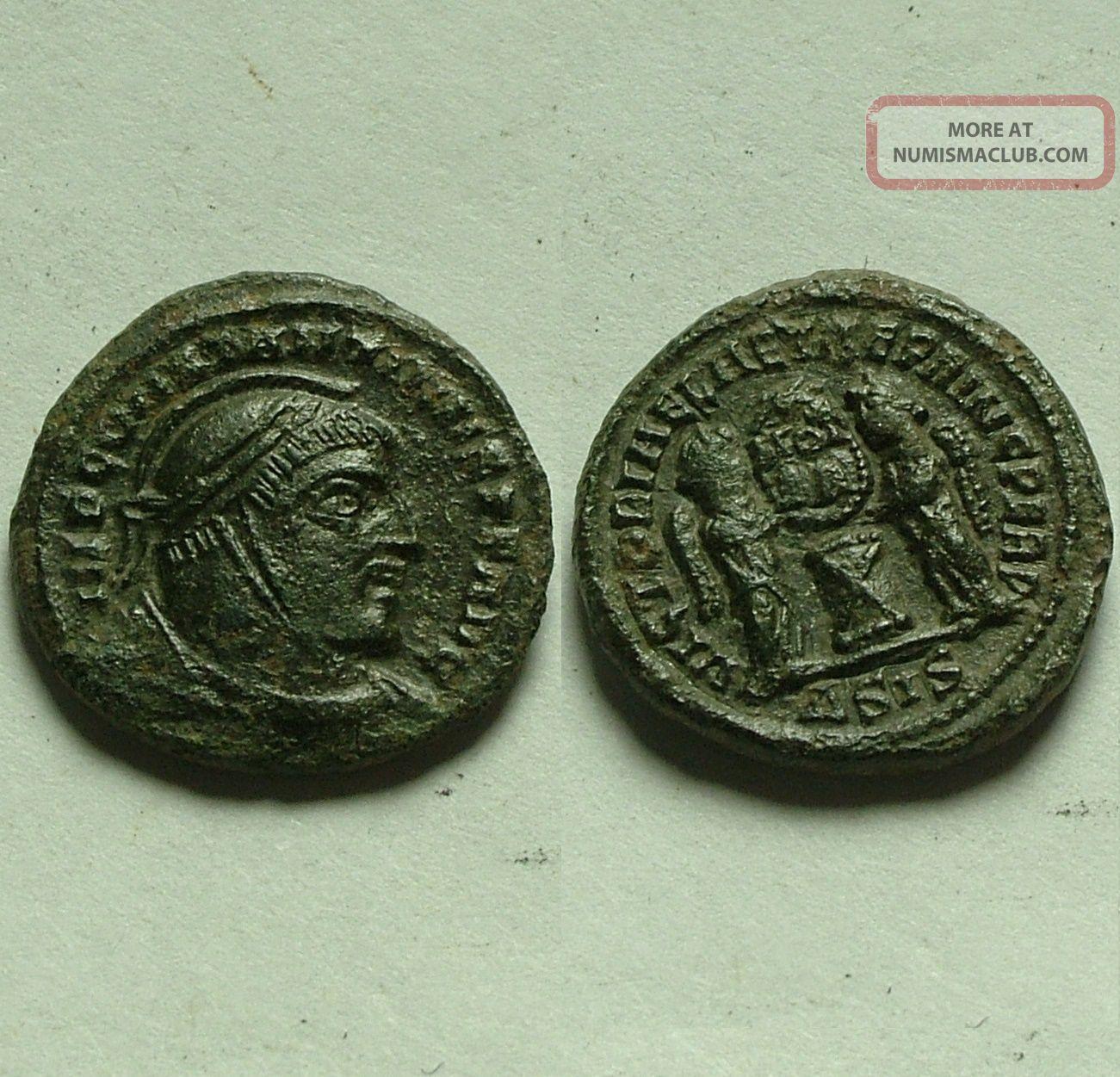 Rare Ancient Roman Coin Constantine I Victory Wreath Altar Siscia 307 Ad Coins: Ancient photo