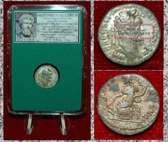 Ancient Roman Empire Coin Septimius Severus Fortuna Silvered Limes Denarius Coins: Ancient photo