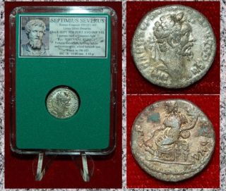 Ancient Roman Empire Coin Septimius Severus Fortuna Silvered Limes Denarius photo