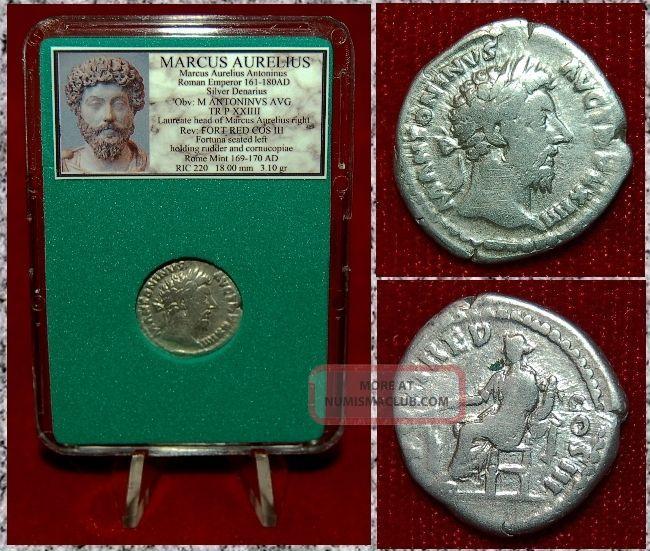 Roman Empire Coin Marcus Aurelius Fortuna On Reverse Silver Denarius Coins: Ancient photo