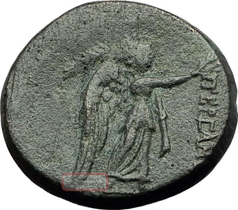 Pergamon In Mysia 200bc Athena Nike Authentic Ancient Greek Coin I59456 Coins: Ancient photo