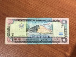 Banknote Of El Salvador - 100 Colones 1993 Serie Bv photo