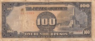 Philippines 100 Pesos Nd.  1944 Block {10} Wwii Issue Circulated Banknote photo