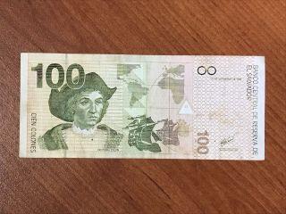 Banknote Of El Salvador - 100 Colones 1998 Serie Q photo