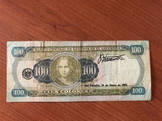 Banknote Of El Salvador - 100 Colones 1993 Serie Lv photo