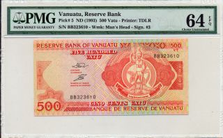 Reserve Bank Vanuatu 500 Vatu Nd (1993) Pmg 64epq photo