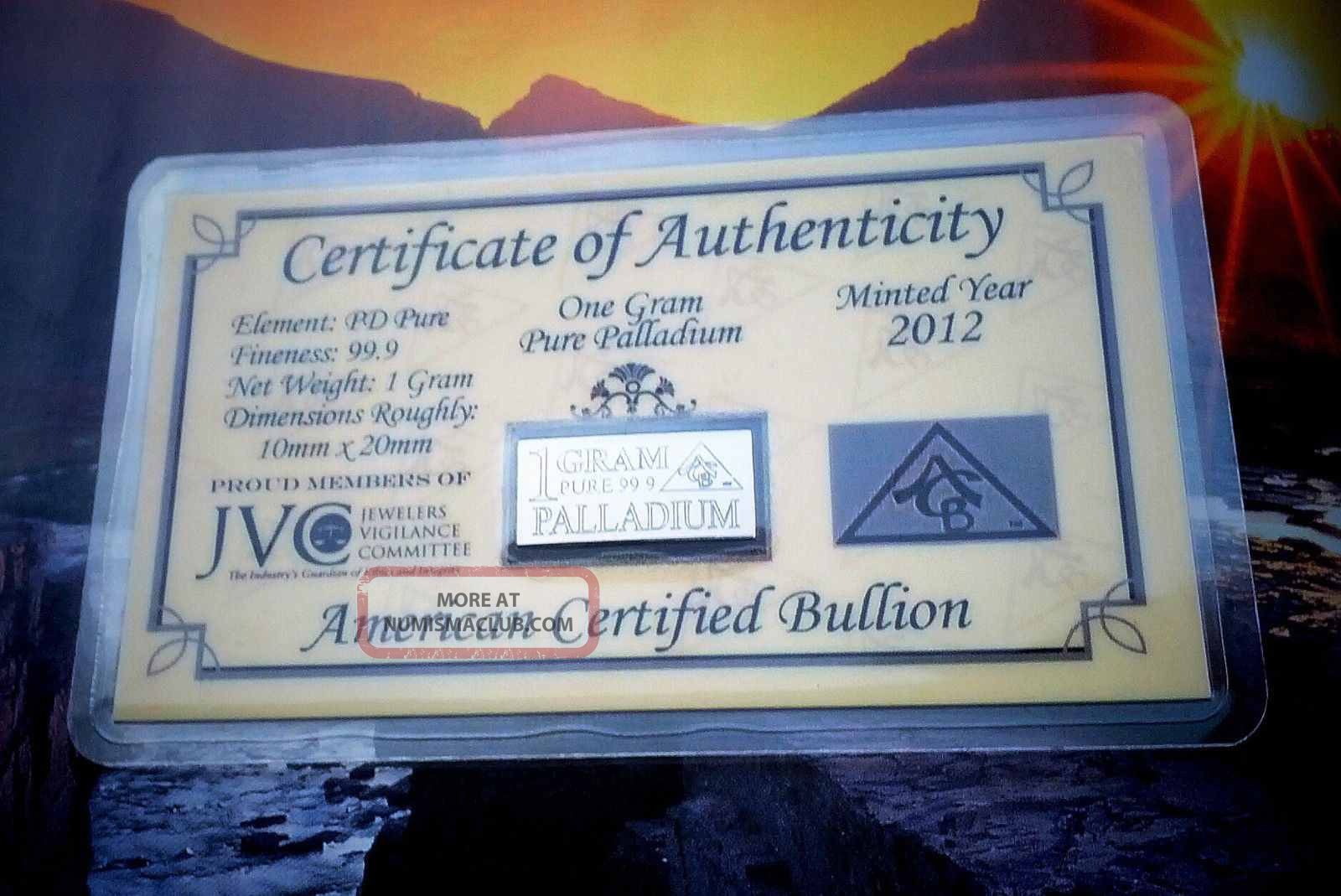 Acb Palladium 99.  9 Pure 1 Gram With Precious Metal Very Rare Bullion Pd Bar. Palladium photo