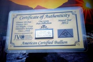 Acb Palladium 99.  9 Pure 1 Gram With Precious Metal Very Rare Bullion Pd Bar. photo