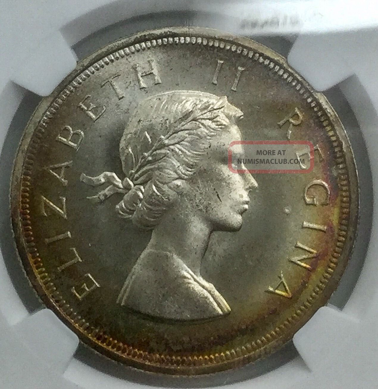 South Africa 1953 Elizabeth Ii Ngc Pl67 Graded 5 Shilling Toner Africa photo