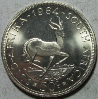 South Africa,  50 Cents,  1964,  Proof - Like Uncirculated,  Springbok.  4546 Oz Silver photo