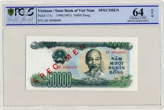 State Bank Of Viet Nam Vietnam 50000 Dong 1990 Specimen Pcgs 64opq photo