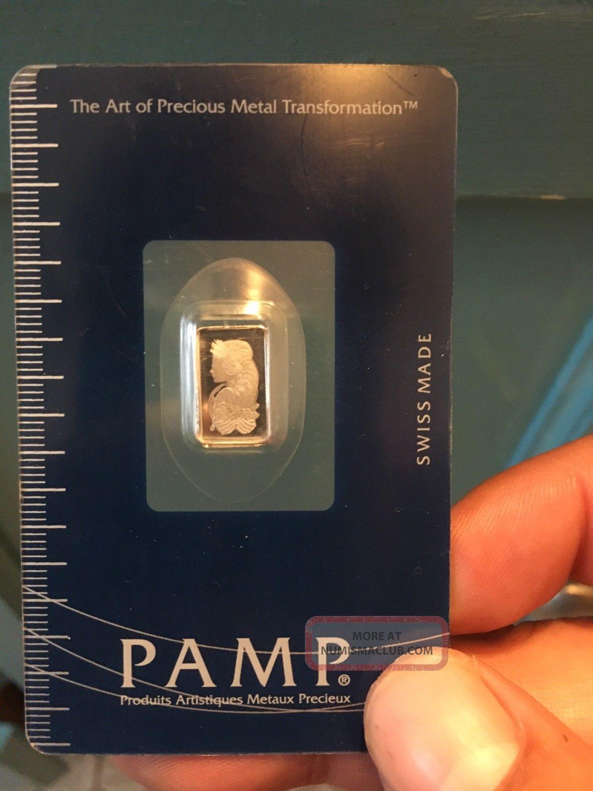 1 Gram Platinum Pamp Suisse Bar Carded W/assay Certificate Platinum photo