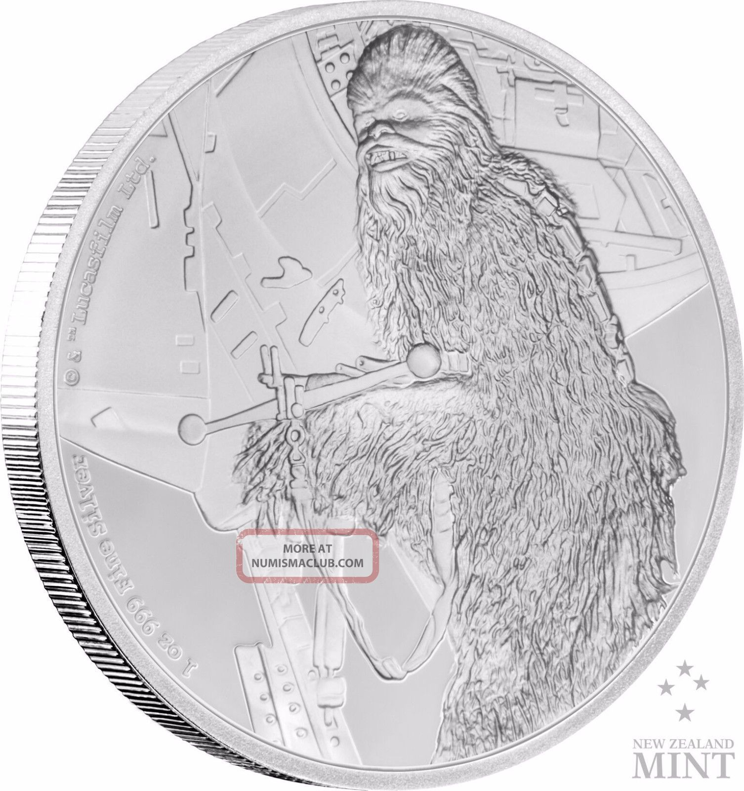Star Wars Classics: Chewbacca - 1 Oz.  Silver Coin Coins: World photo