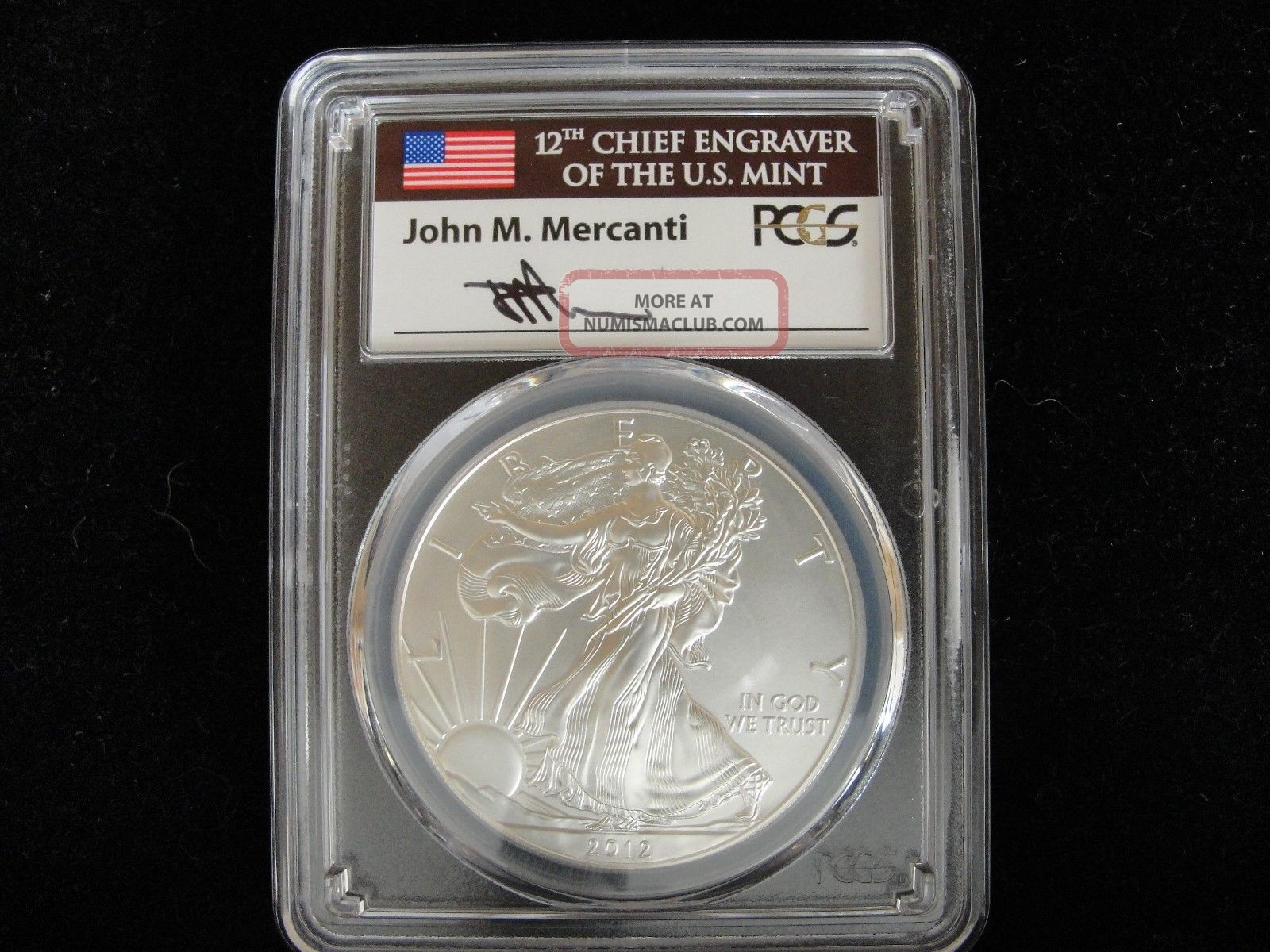 Pcgs 2012 W Sp70 Burnished Silver Eagle Silver photo
