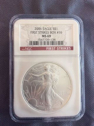 2006 Silver Eagle First Strikes Box 16 Ngc Ms69 photo