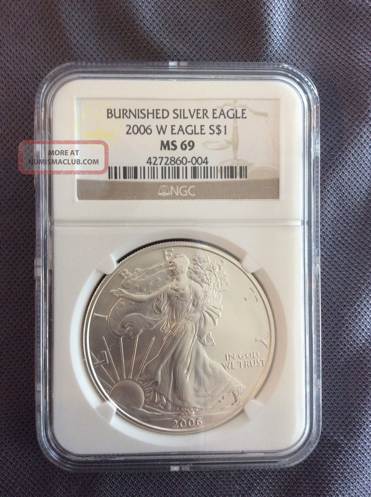 2006 - W Burnished American Silver Eagle $1 Ms 69 Ngc Silver photo
