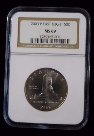 2003 Ngc Ms69 First Flight 50c Commemorative Silver Half Dollar photo