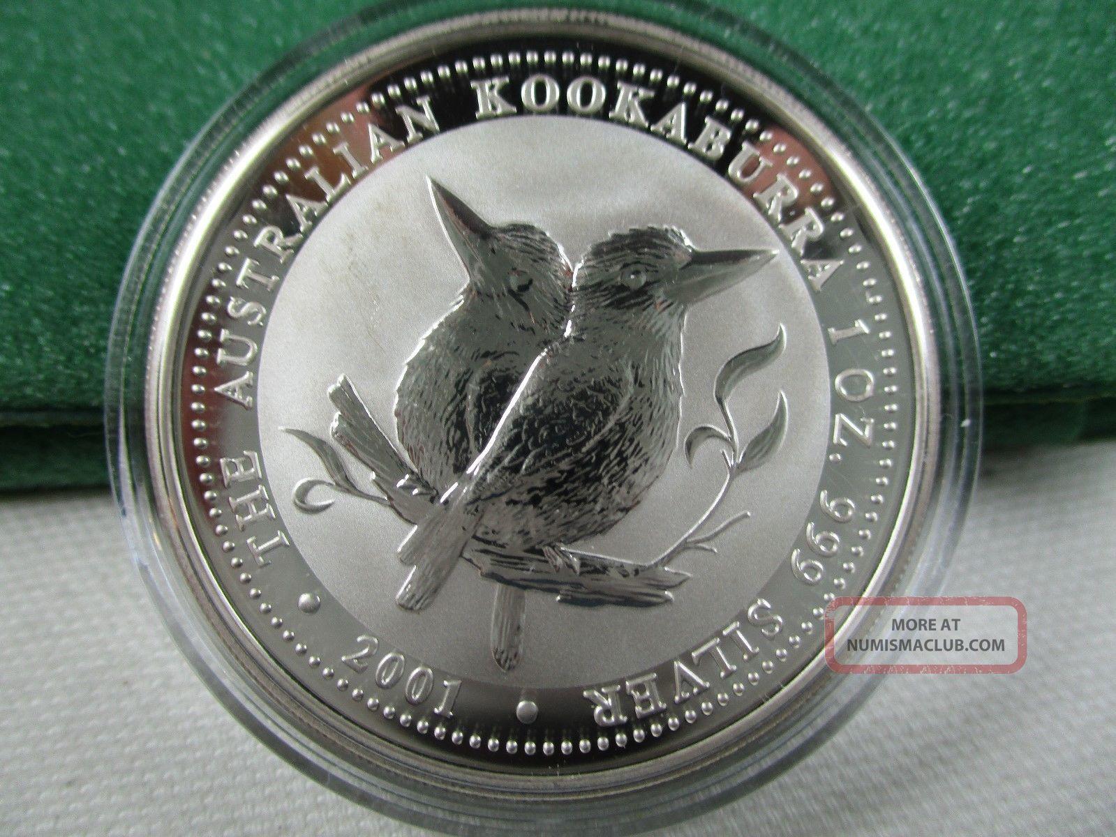 2001 Perth Australia Kookaburra 1 Ounce Silver Coin In Capsule - 2 Australia photo
