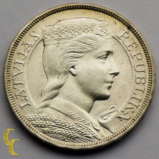 1929 Latvia 5 Lati Silver Coin In Au Km 9 photo