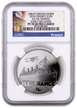 2016 France 10e Silver Great French Ships Ile De France Ngc Pf70 Uc Er Sku43657 photo
