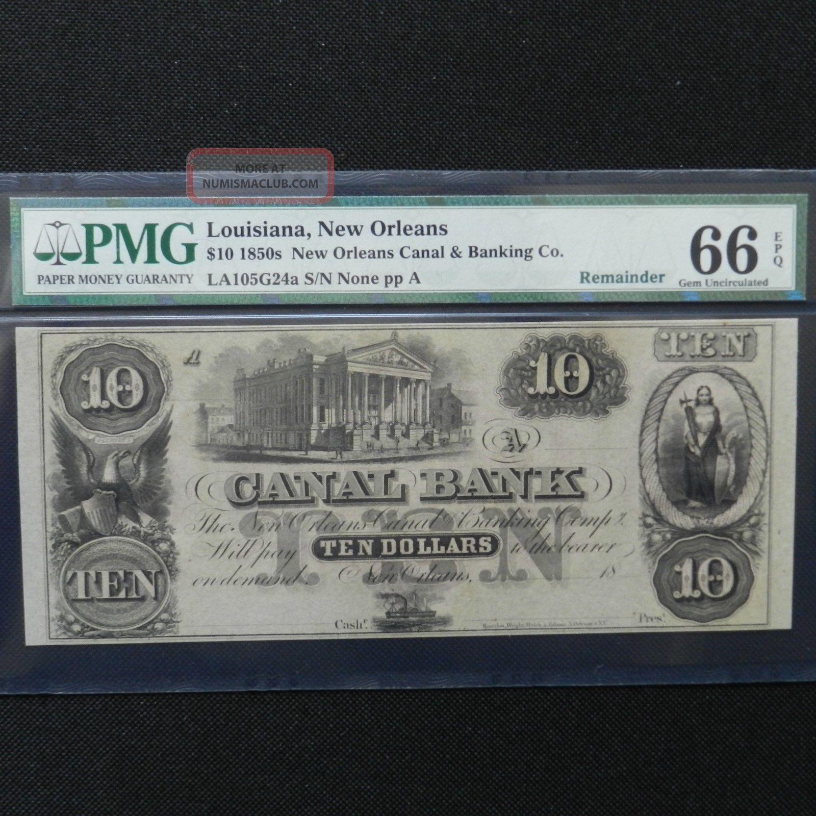 $10 1850s Canal Bank - Orleans,  Louisiana - Pmg 66 Epq Gem Unc Paper Money: US photo
