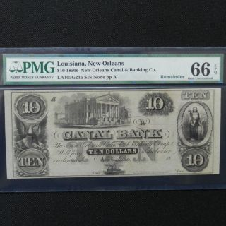 $10 1850s Canal Bank - Orleans,  Louisiana - Pmg 66 Epq Gem Unc photo