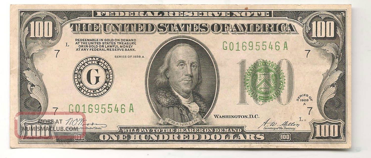1928 - A $100 Chicago Federal Reserve Note Green Seal Small Size Notes photo