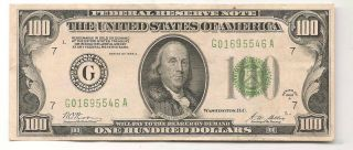 1928 - A $100 Chicago Federal Reserve Note Green Seal photo