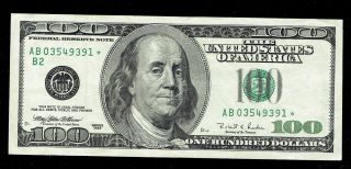 1996 $100 Franklin One Hundred Dollar Federal Reserve Note