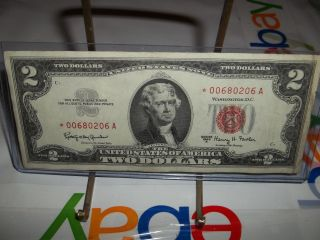 1963 - A $2 Star Red Seal Legal Tender United States Note Shape See Pic photo
