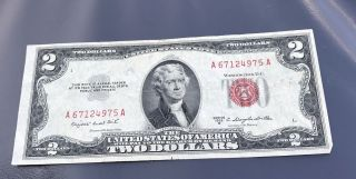 1953 Series $2 Two Dollar Red Seal Note Bill Us Currency photo