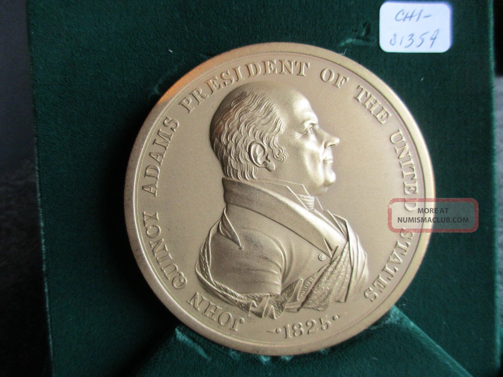 President John Quincy Adams,  Indian Peace Medal,  In Presentation Box,  Chi - 01359 Exonumia photo