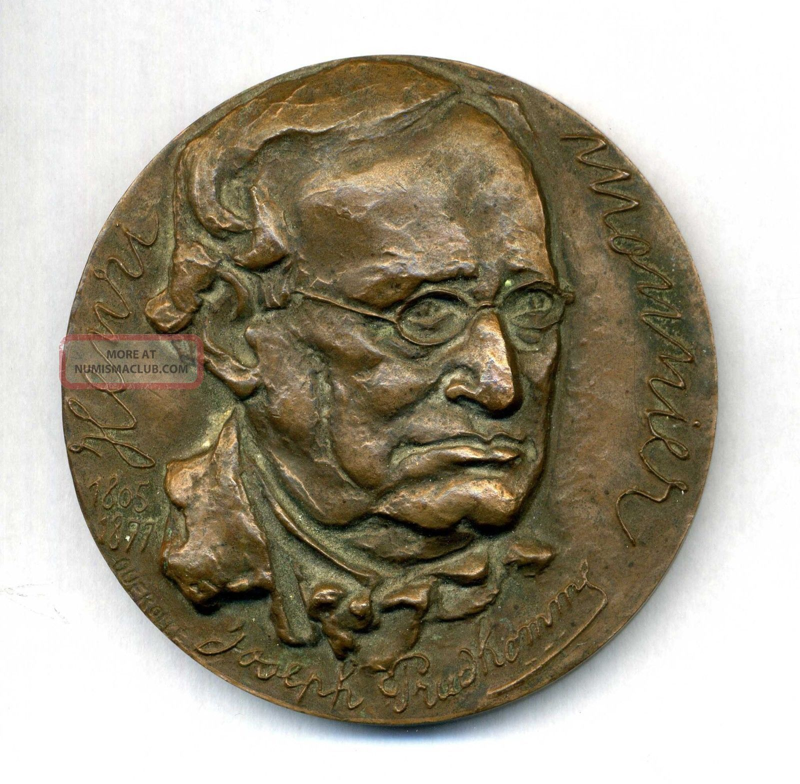Henry Monnier French Playwright,  Caricaturist And Actor.  Bronze Medal By Querolle Exonumia photo