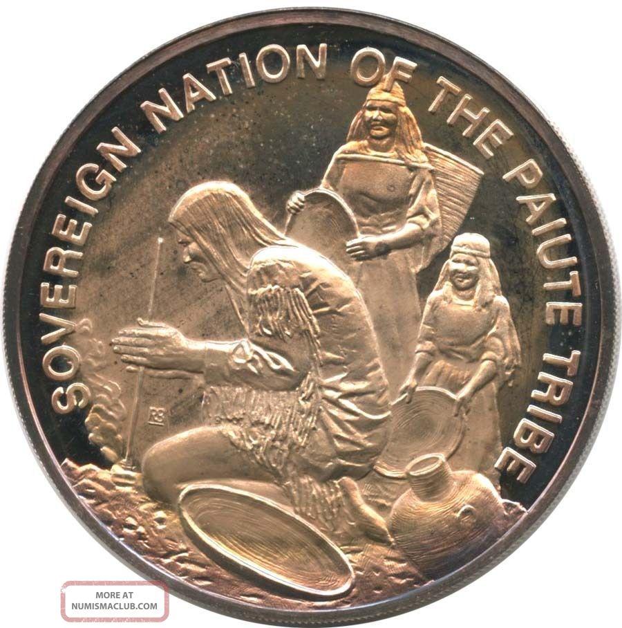 1972 Sovereign Nation Of The Paiute Tribe 25.  8g Fine Silver Round Exonumia photo