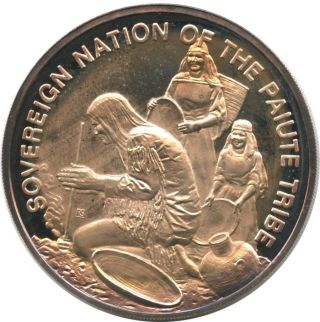1972 Sovereign Nation Of The Paiute Tribe 25.  8g Fine Silver Round photo