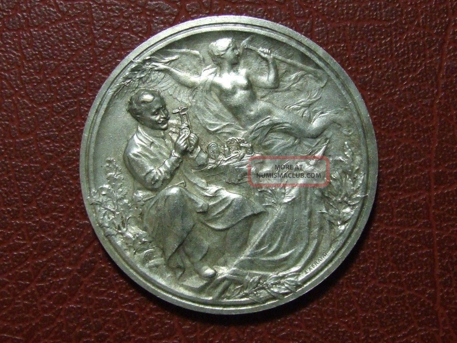 Art Nouveau Small Inventors Association Of France Medal Étienne - Victor Exbrayat Exonumia photo