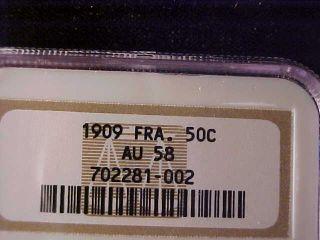 France 50 Centimes 1909 Ngc Au 58, photo