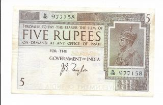India,  Government Of India - 5 Rupees,  Nd (1917 - 30).  Taylor.  Ef.  Rare. photo