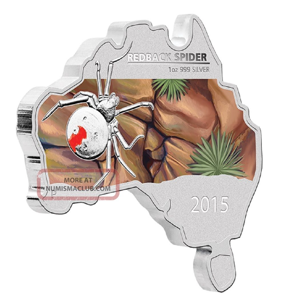 2015 Australian Map Shaped Coin Series Redback Spider 1oz Silver Proof Coin Coins: World photo