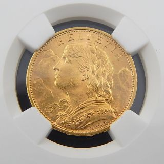 1915 B Switzerland 20 Francs Ngc Ms - 63 Authentic Collectible Coin 3353222 - 002 photo