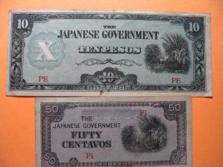 2 Japanese Goverment Currency Bills - 10 Pesos & Fifty Centavos Take A Look photo