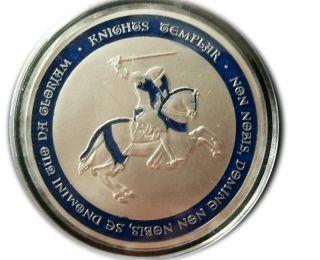 Knights Templar Coin - Blue Cross / Masonic Coin.  999 Silver photo