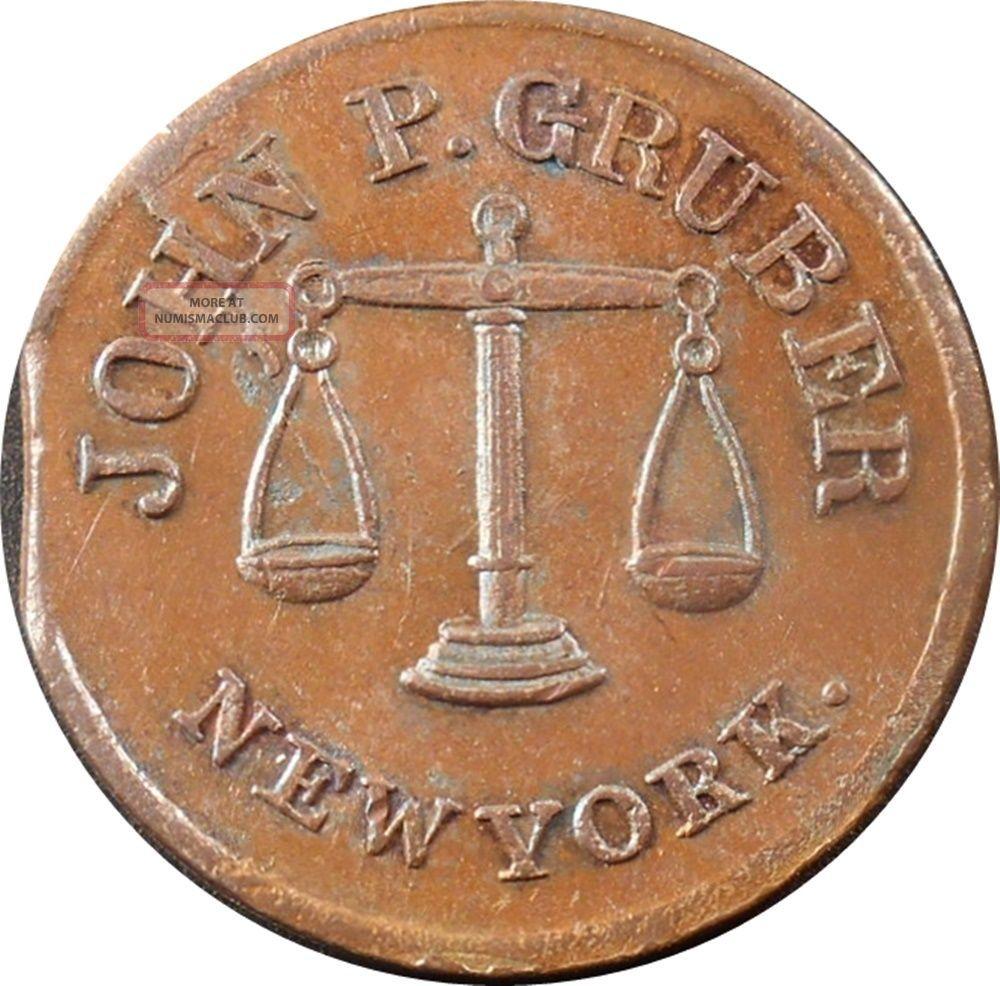 1863 Nyc Ae Store Card Token: John P.  Gruber,  Apothecary,  Clipped Planchette (r1 Exonumia photo