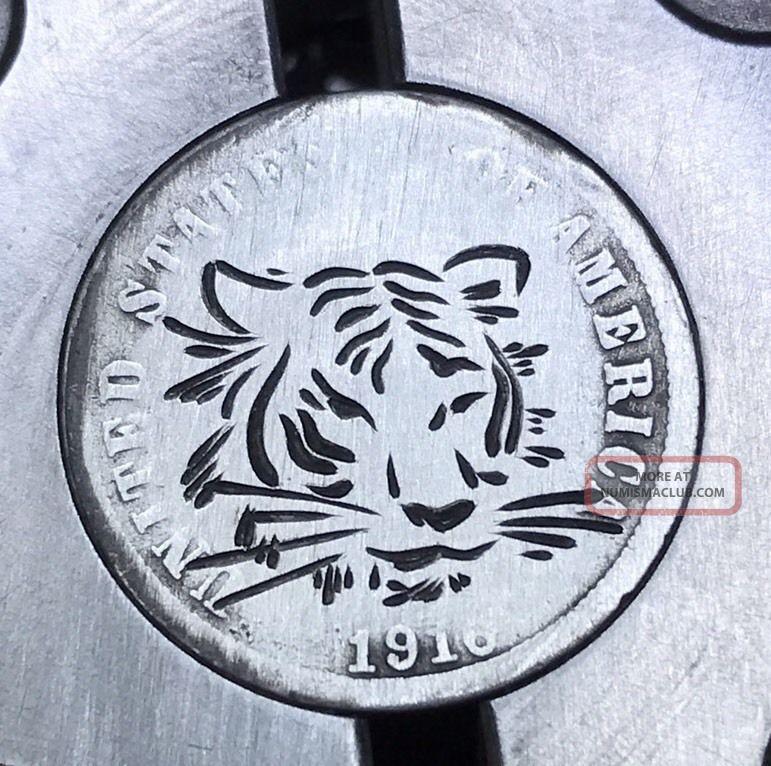 90 Silver Dime Hobo Nickel Coin Art Tiger 43 Exonumia photo
