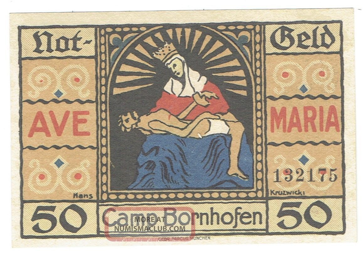 Germany Notgeld Camp Bornhofen 1921 Fifty Pfennig Note Saint & Jesus On Front Europe photo