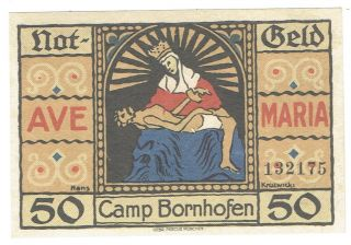 Germany Notgeld Camp Bornhofen 1921 Fifty Pfennig Note Saint & Jesus On Front photo