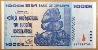 One Hundred Trillion Dollars 100,  000,  000,  000,  000.  Zimbabwe Dollar Bill photo